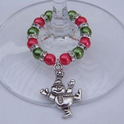 Dancing Snowman Wine Glass Charm - Full Sparkle Style